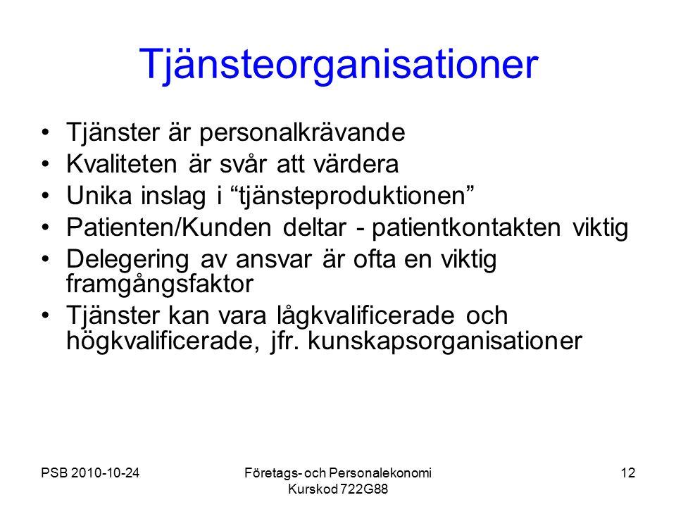 PSB 2010-10-24Företags- och Personalekonomi Kurskod 722G88 12 Tjänsteorganisationer Tjänster är personalkrävande Kvaliteten är svår att värdera Unika