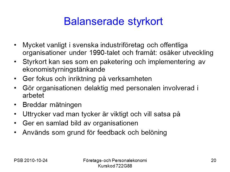 PSB 2010-10-24Företags- och Personalekonomi Kurskod 722G88 20 Balanserade styrkort Mycket vanligt i svenska industriföretag och offentliga organisatio