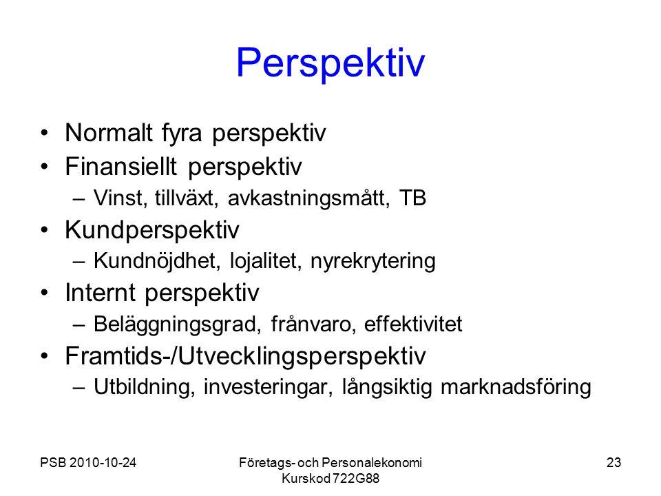 PSB 2010-10-24Företags- och Personalekonomi Kurskod 722G88 23 Perspektiv Normalt fyra perspektiv Finansiellt perspektiv –Vinst, tillväxt, avkastningsm