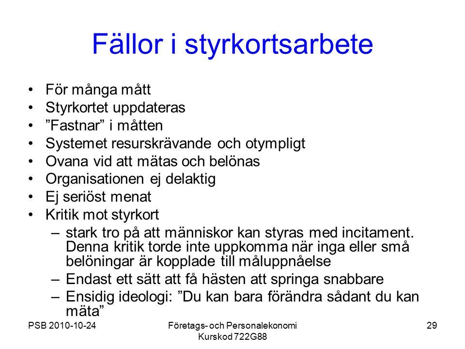 """PSB 2010-10-24Företags- och Personalekonomi Kurskod 722G88 29 Fällor i styrkortsarbete För många mått Styrkortet uppdateras """"Fastnar"""" i måtten Systeme"""