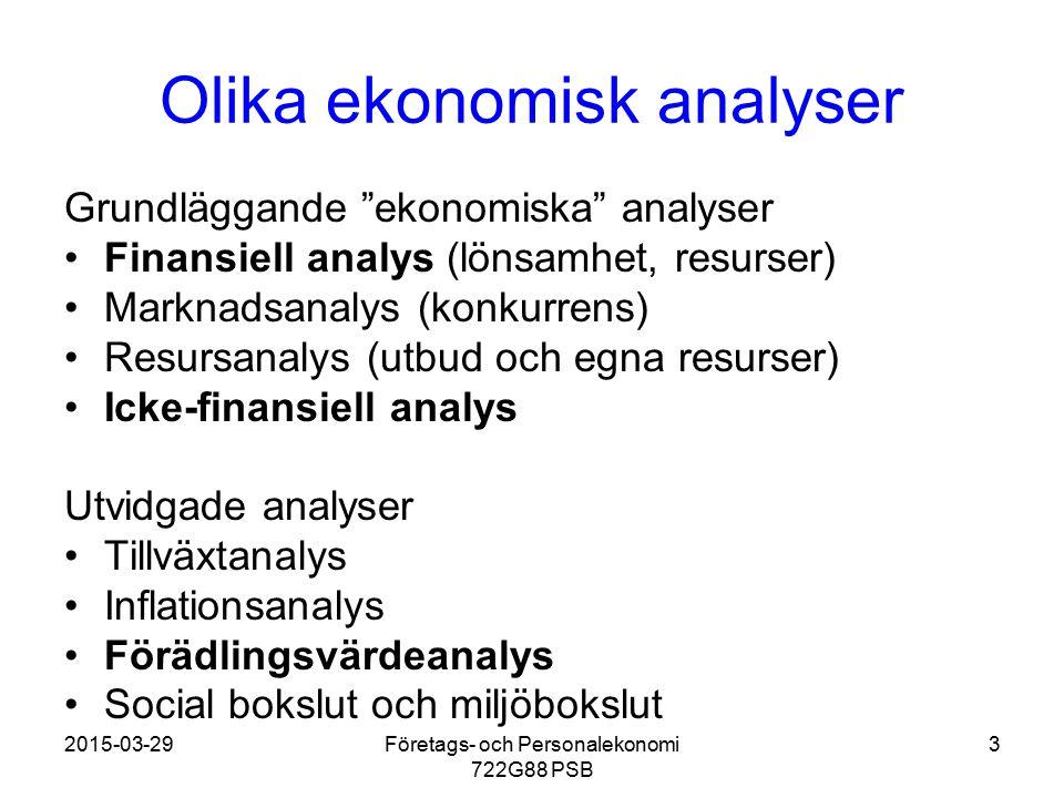 """2015-03-29Företags- och Personalekonomi 722G88 PSB 3 Olika ekonomisk analyser Grundläggande """"ekonomiska"""" analyser Finansiell analys (lönsamhet, resurs"""