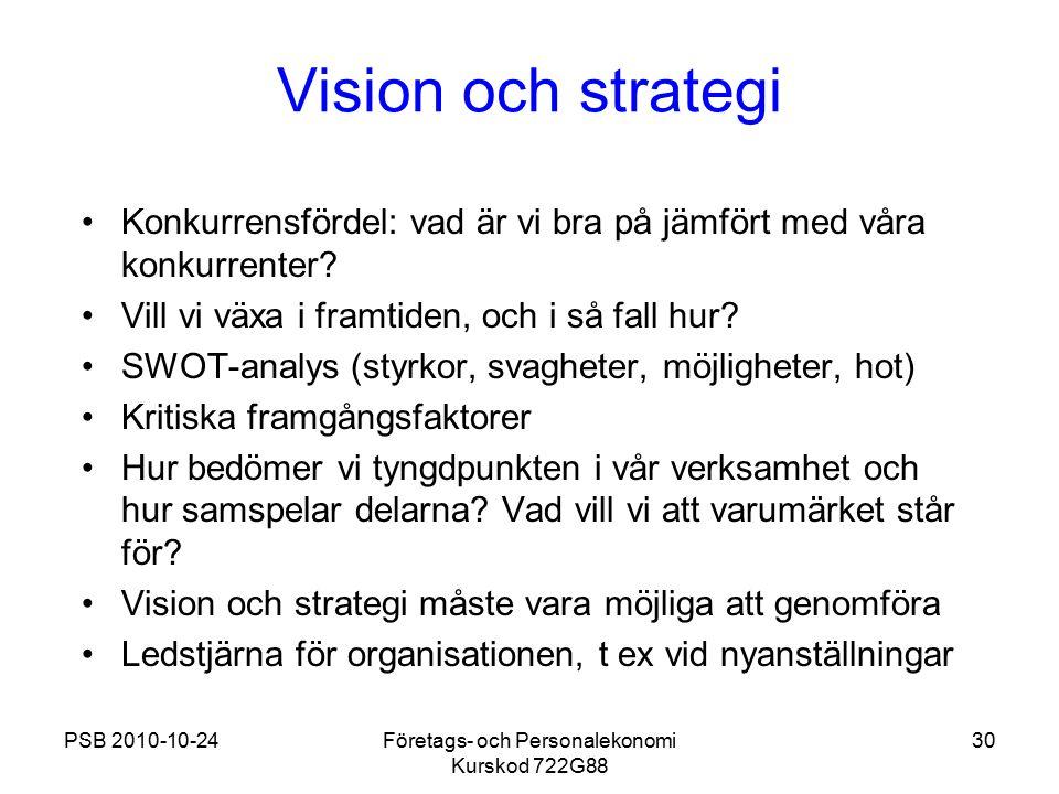 PSB 2010-10-24Företags- och Personalekonomi Kurskod 722G88 30 Vision och strategi Konkurrensfördel: vad är vi bra på jämfört med våra konkurrenter? Vi