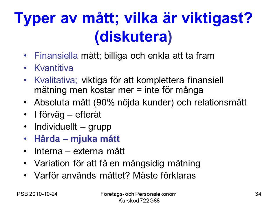 PSB 2010-10-24Företags- och Personalekonomi Kurskod 722G88 34 Typer av mått; vilka är viktigast? (diskutera) Finansiella mått; billiga och enkla att t