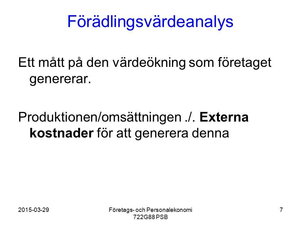 2015-03-29Företags- och Personalekonomi 722G88 PSB 7 Förädlingsvärdeanalys Ett mått på den värdeökning som företaget genererar. Produktionen/omsättnin