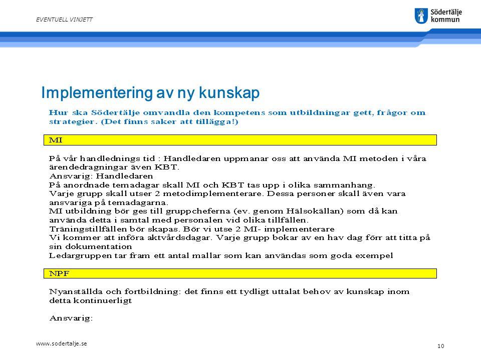 www.sodertalje.se 10 EVENTUELL VINJETT Implementering av ny kunskap
