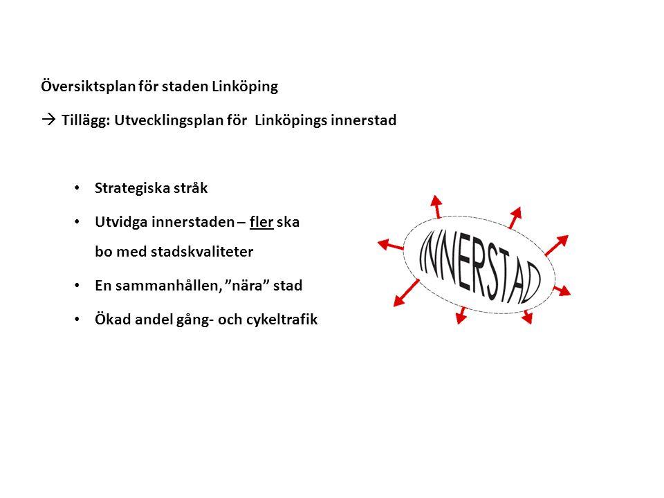 Översiktsplan för staden Linköping  Tillägg: Utvecklingsplan för Linköpings innerstad Strategiska stråk Utvidga innerstaden – fler ska bo med stadskvaliteter En sammanhållen, nära stad Ökad andel gång- och cykeltrafik