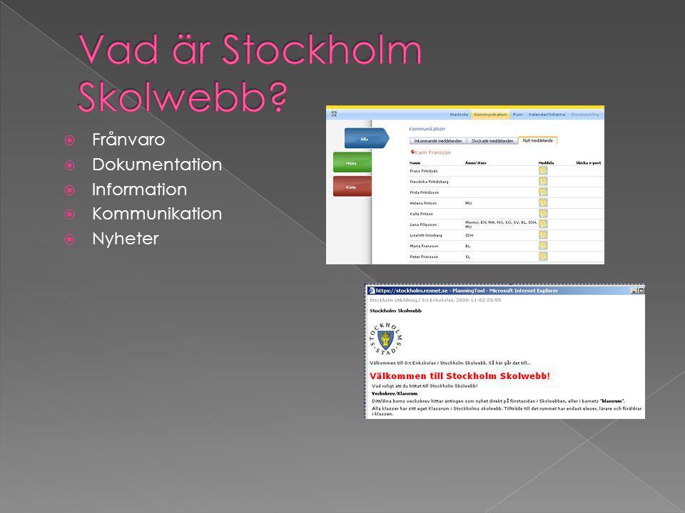  Frånvaro  Dokumentation  Information  Kommunikation  Nyheter