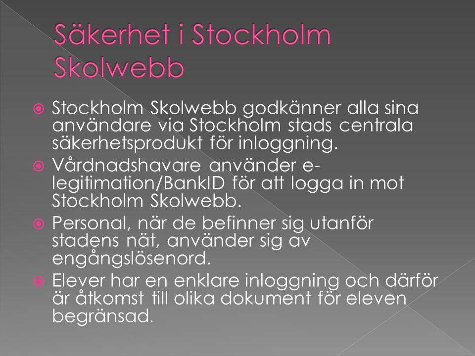  Stockholm Skolwebb godkänner alla sina användare via Stockholm stads centrala säkerhetsprodukt för inloggning.