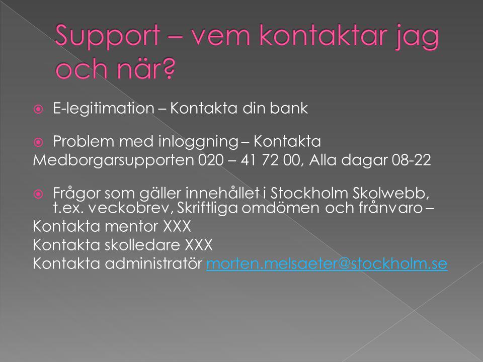  E-legitimation – Kontakta din bank  Problem med inloggning – Kontakta Medborgarsupporten 020 – 41 72 00, Alla dagar 08-22  Frågor som gäller innehållet i Stockholm Skolwebb, t.ex.