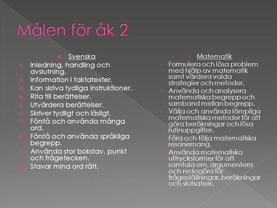  Svenska  Inledning, handling och avslutning.  Information i faktatexter.