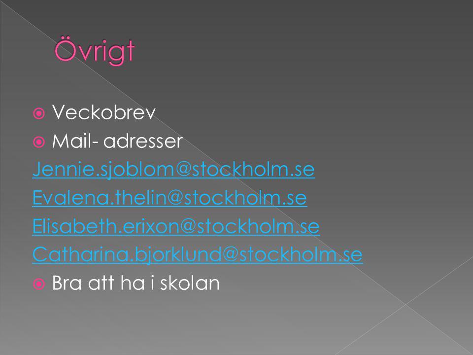  Veckobrev  Mail- adresser Jennie.sjoblom@stockholm.se Evalena.thelin@stockholm.se Elisabeth.erixon@stockholm.se Catharina.bjorklund@stockholm.se  Bra att ha i skolan