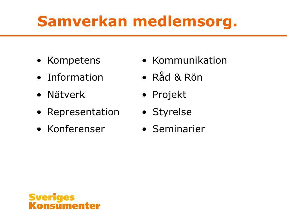 Samverkan medlemsorg. Kompetens Information Nätverk Representation Konferenser Kommunikation Råd & Rön Projekt Styrelse Seminarier