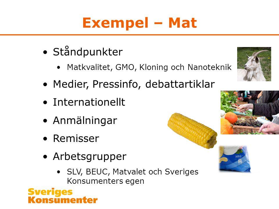 Exempel – Mat Ståndpunkter Matkvalitet, GMO, Kloning och Nanoteknik Medier, Pressinfo, debattartiklar Internationellt Anmälningar Remisser Arbetsgrupp
