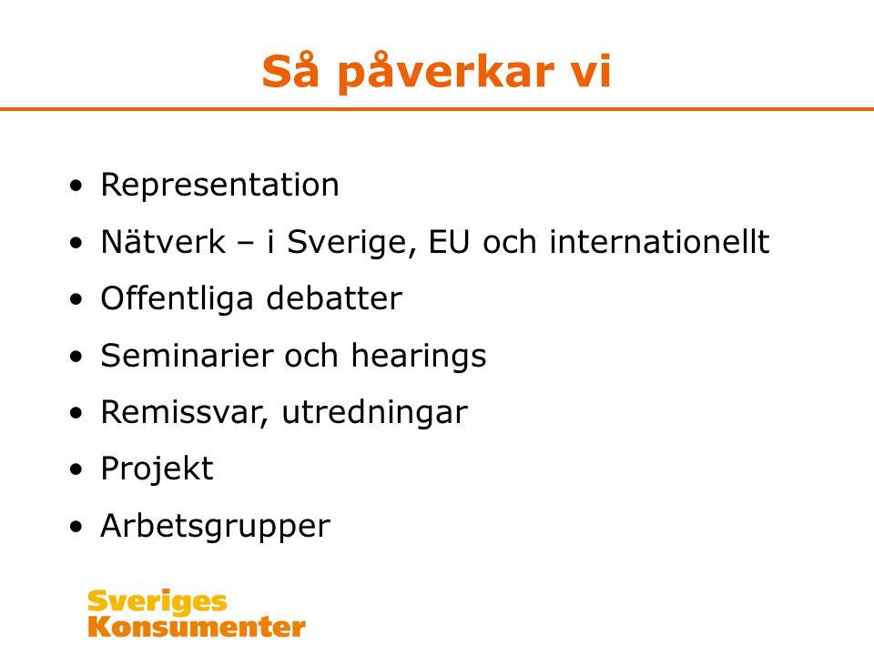 Så påverkar vi Representation Nätverk – i Sverige, EU och internationellt Offentliga debatter Seminarier och hearings Remissvar, utredningar Projekt Arbetsgrupper