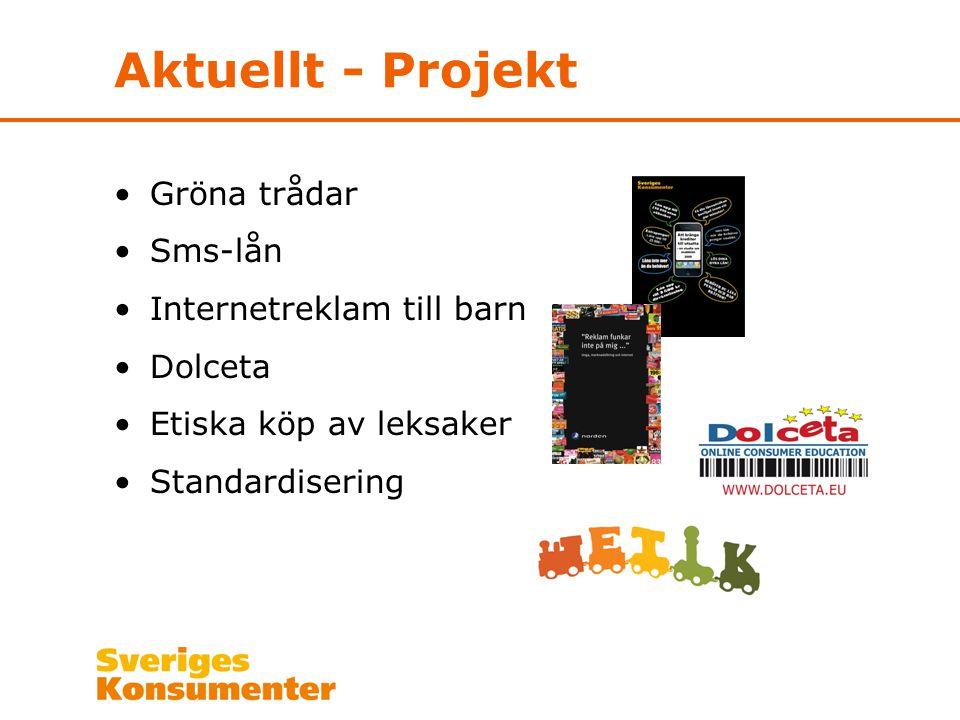 Aktuellt - Projekt Gröna trådar Sms-lån Internetreklam till barn Dolceta Etiska köp av leksaker Standardisering