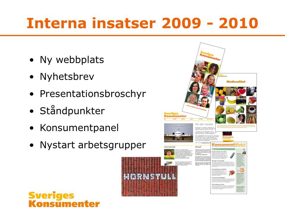 Interna insatser 2009 - 2010 Ny webbplats Nyhetsbrev Presentationsbroschyr Ståndpunkter Konsumentpanel Nystart arbetsgrupper
