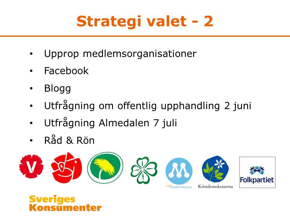 Strategi valet - 2 Upprop medlemsorganisationer Facebook Blogg Utfrågning om offentlig upphandling 2 juni Utfrågning Almedalen 7 juli Råd & Rön