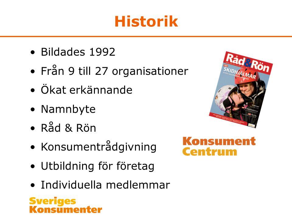 Historik Bildades 1992 Från 9 till 27 organisationer Ökat erkännande Namnbyte Råd & Rön Konsumentrådgivning Utbildning för företag Individuella medlem