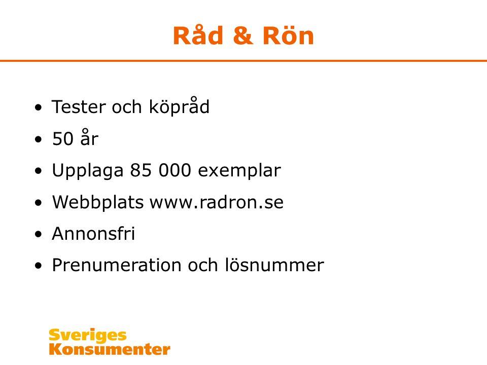 Råd & Rön Tester och köpråd 50 år Upplaga 85 000 exemplar Webbplats www.radron.se Annonsfri Prenumeration och lösnummer
