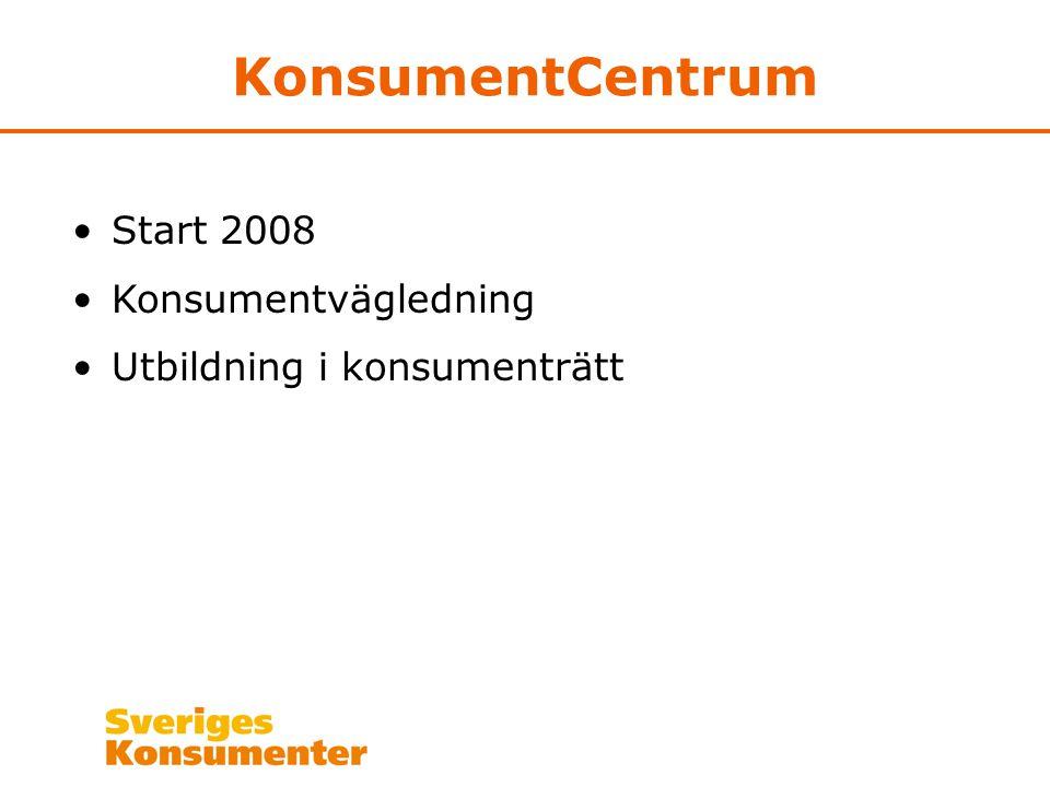 KonsumentCentrum Start 2008 Konsumentvägledning Utbildning i konsumenträtt