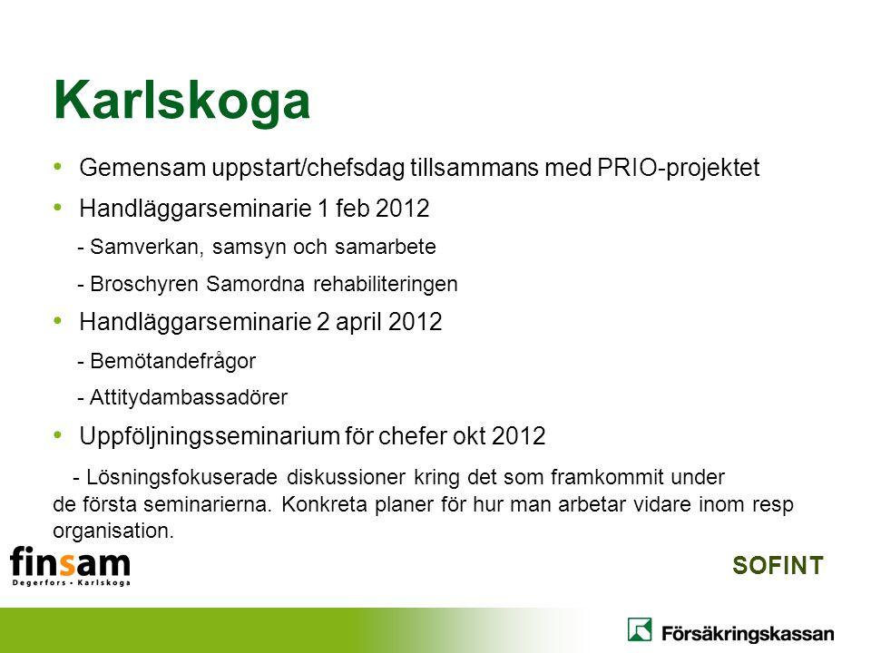 Gemensam uppstart/chefsdag tillsammans med PRIO-projektet Handläggarseminarie 1 feb 2012 - Samverkan, samsyn och samarbete - Broschyren Samordna rehab
