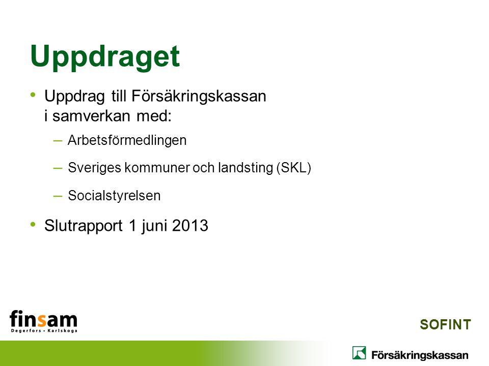 Uppdraget Uppdrag till Försäkringskassan i samverkan med: – Arbetsförmedlingen – Sveriges kommuner och landsting (SKL) – Socialstyrelsen Slutrapport 1