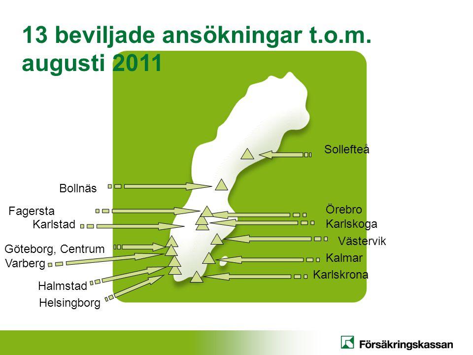 Helsingborg Karlstad 13 beviljade ansökningar t.o.m. augusti 2011 Göteborg, Centrum Örebro Karlskoga Kalmar Karlskrona Varberg Västervik Sollefteå Fag