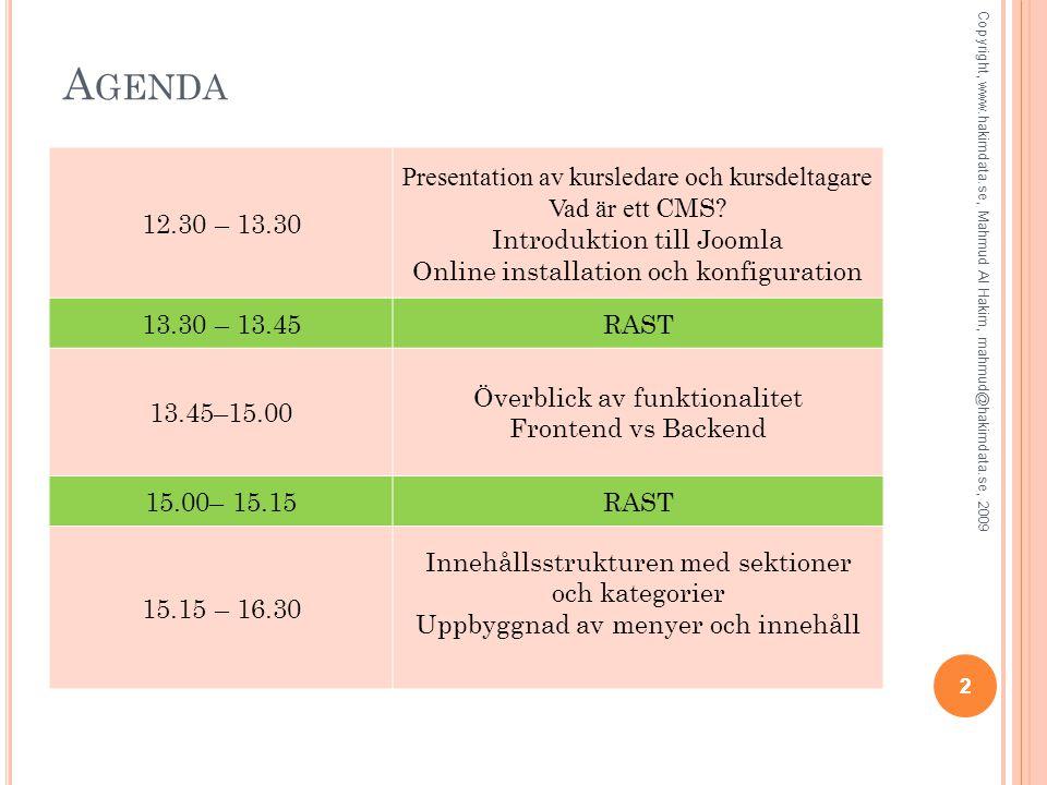 A GENDA 22 Copyright, www.hakimdata.se, Mahmud Al Hakim, mahmud@hakimdata.se, 2009 12.30 – 13.30 Presentation av kursledare och kursdeltagare Vad är ett CMS.