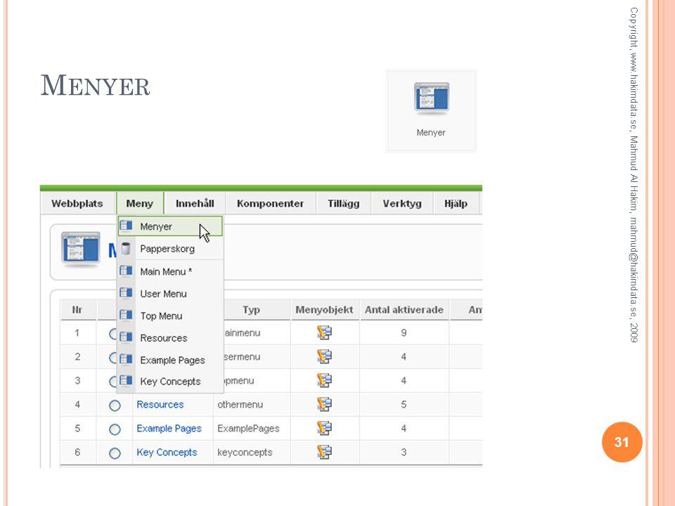 M ENYER 31 Copyright, www.hakimdata.se, Mahmud Al Hakim, mahmud@hakimdata.se, 2009