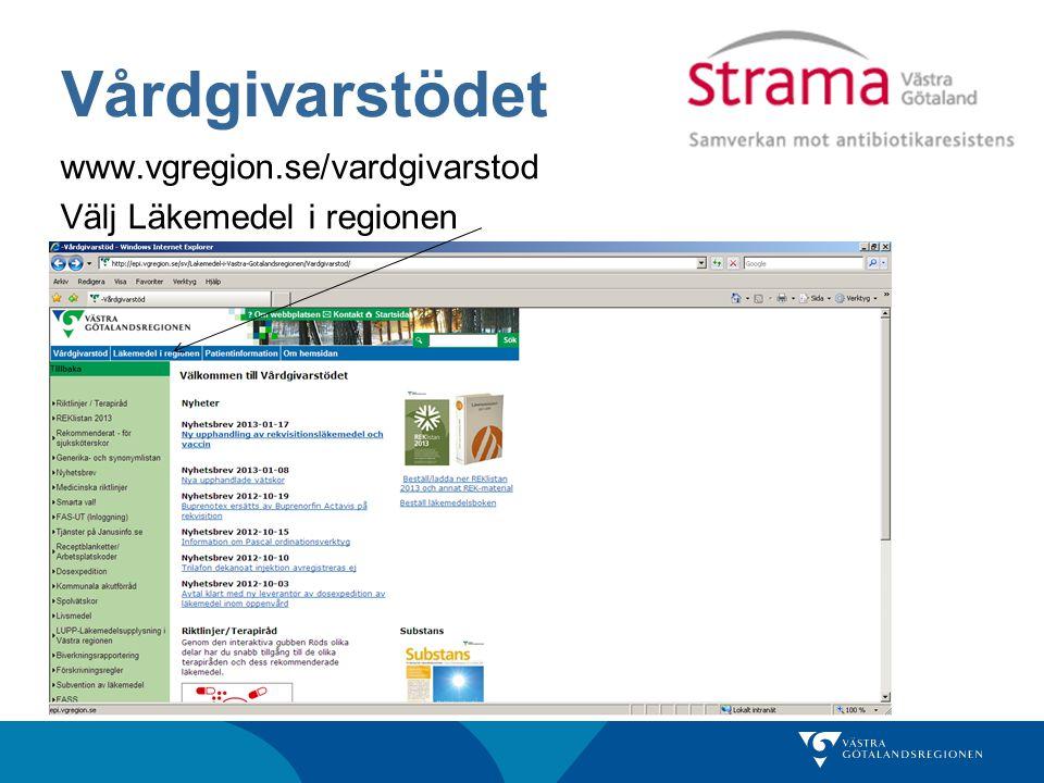 Vårdgivarstödet www.vgregion.se/vardgivarstod Välj Läkemedel i regionen