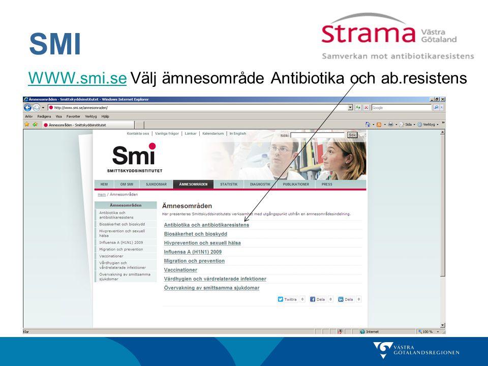 SMI WWW.smi.seWWW.smi.se Välj ämnesområde Antibiotika och ab.resistens