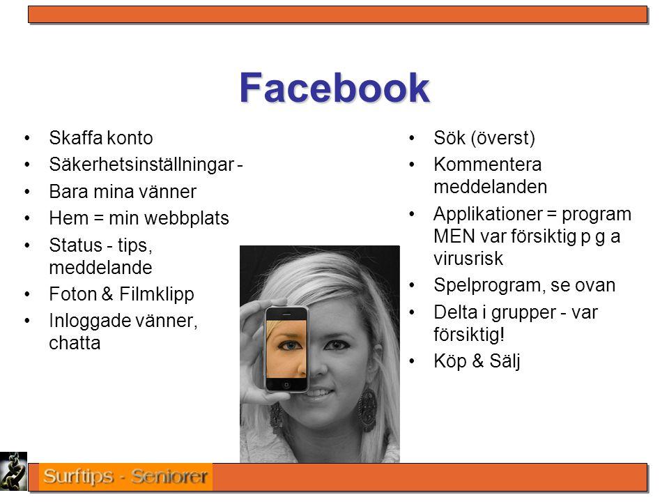 Facebook Skaffa konto Säkerhetsinställningar - Bara mina vänner Hem = min webbplats Status - tips, meddelande Foton & Filmklipp Inloggade vänner, chat