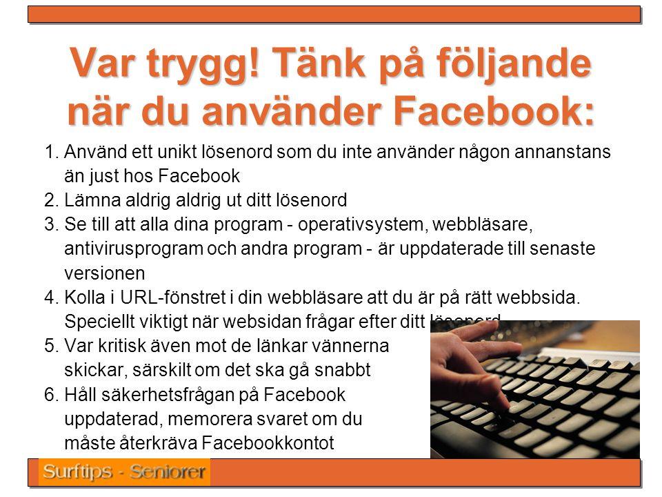 Var trygg! Tänk på följande när du använder Facebook: 1. Använd ett unikt lösenord som du inte använder någon annanstans än just hos Facebook 2. Lämna