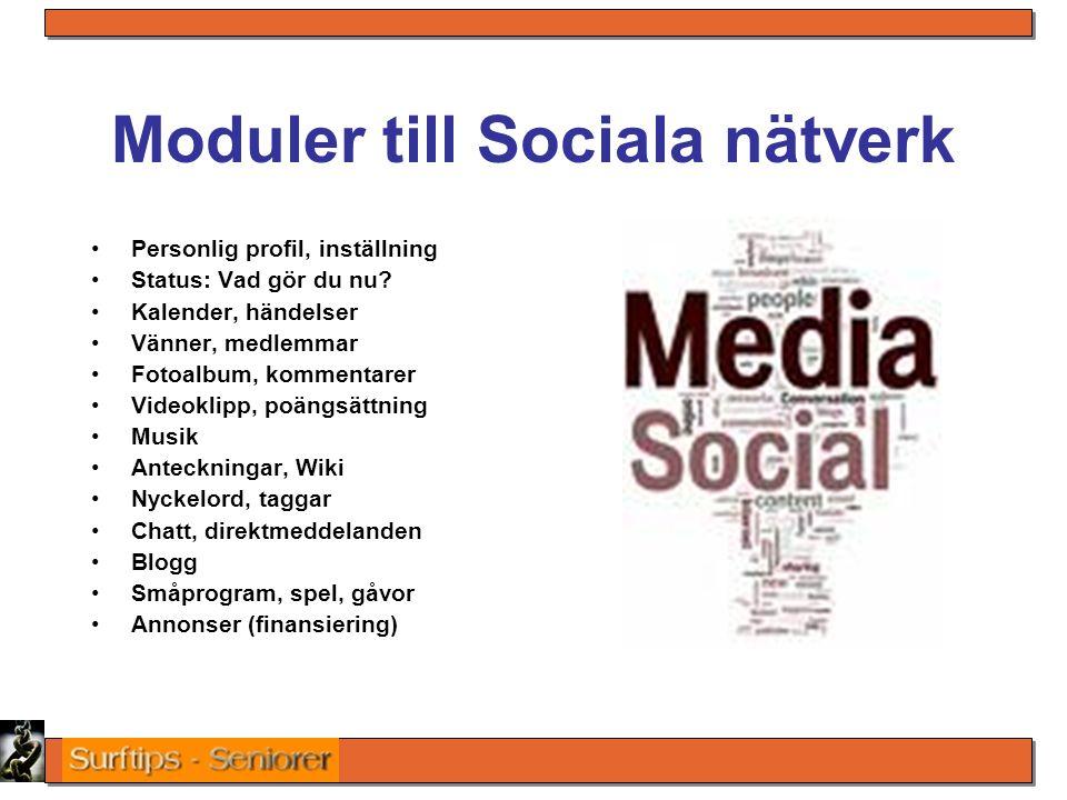 Moduler till Sociala nätverk Personlig profil, inställning Status: Vad gör du nu? Kalender, händelser Vänner, medlemmar Fotoalbum, kommentarer Videokl