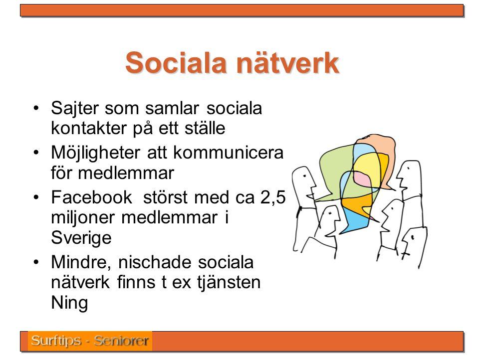 Sociala nätverk Sajter som samlar sociala kontakter på ett ställe Möjligheter att kommunicera för medlemmar Facebook störst med ca 2,5 miljoner medlemmar i Sverige Mindre, nischade sociala nätverk finns t ex tjänsten Ning