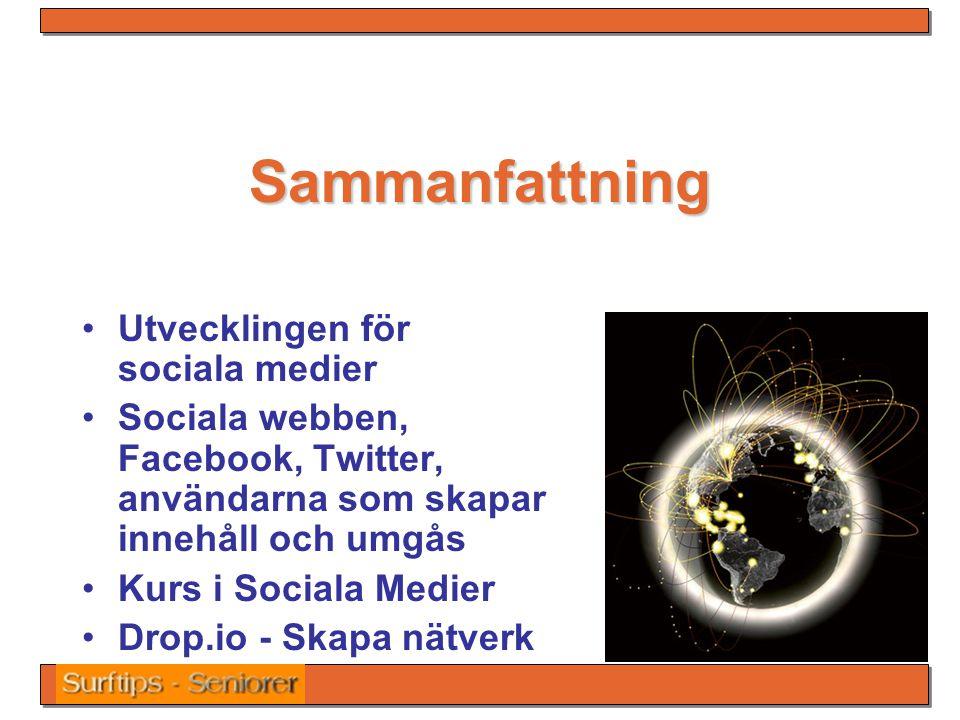 Sammanfattning Utvecklingen för sociala medier Sociala webben, Facebook, Twitter, användarna som skapar innehåll och umgås Kurs i Sociala Medier Drop.io - Skapa nätverk