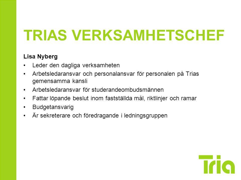 TRIAS VERKSAMHETSCHEF Lisa Nyberg Leder den dagliga verksamheten Arbetsledaransvar och personalansvar för personalen på Trias gemensamma kansli Arbets