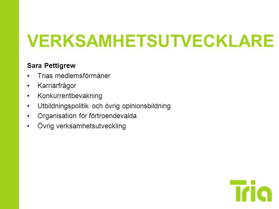 REKRYTERINGSANSVARIG Jonas Eriksson Trias rekryteringsarbete, strategi, uppföljning och utveckling Kontinuerlig kontakt med studerandeombudsmännen Samordning av studerandeombudsmännens arbete Länk mellan Tria och Förbundens övergångsgrupp