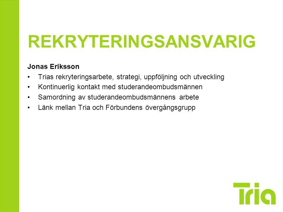 REKRYTERINGSANSVARIG Jonas Eriksson Trias rekryteringsarbete, strategi, uppföljning och utveckling Kontinuerlig kontakt med studerandeombudsmännen Sam