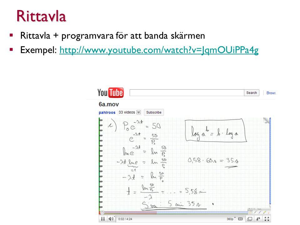  Rittavla + programvara för att banda skärmen  Exempel: http://www.youtube.com/watch v=JqmOUiPPa4ghttp://www.youtube.com/watch v=JqmOUiPPa4gRittavla