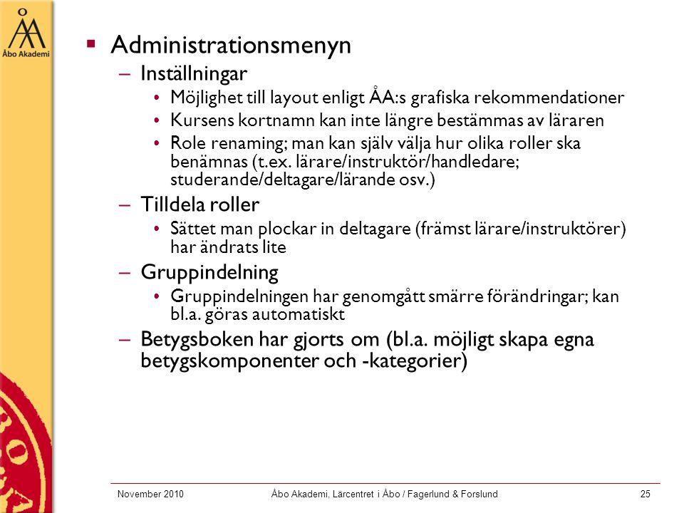 November 2010Åbo Akademi, Lärcentret i Åbo / Fagerlund & Forslund25  Administrationsmenyn –Inställningar Möjlighet till layout enligt ÅA:s grafiska r