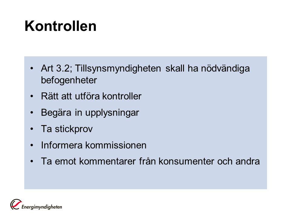 Kontrollen Art 3.2; Tillsynsmyndigheten skall ha nödvändiga befogenheter Rätt att utföra kontroller Begära in upplysningar Ta stickprov Informera kommissionen Ta emot kommentarer från konsumenter och andra