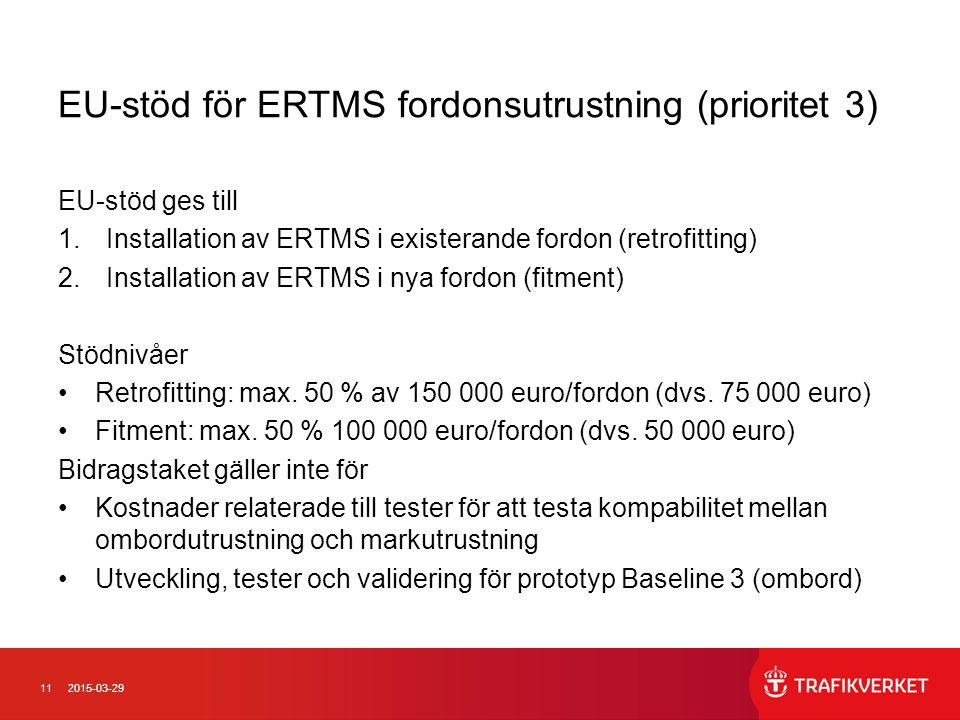 112015-03-29 EU-stöd för ERTMS fordonsutrustning (prioritet 3) EU-stöd ges till 1.Installation av ERTMS i existerande fordon (retrofitting) 2.Installa