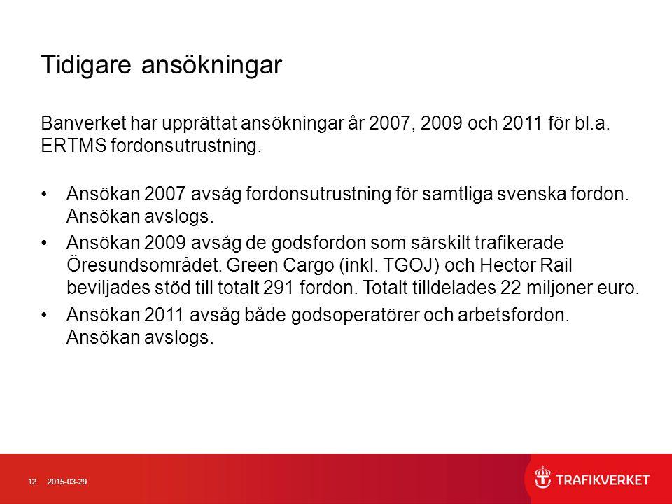 122015-03-29 Tidigare ansökningar Banverket har upprättat ansökningar år 2007, 2009 och 2011 för bl.a. ERTMS fordonsutrustning. Ansökan 2007 avsåg for
