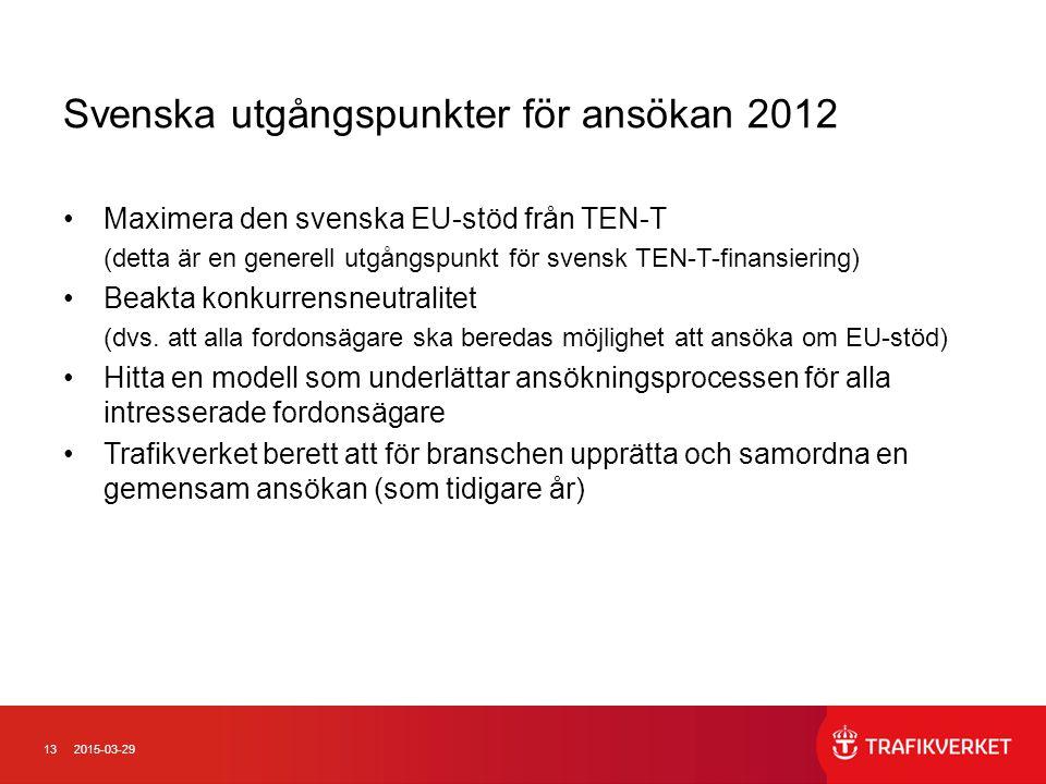 132015-03-29 Svenska utgångspunkter för ansökan 2012 Maximera den svenska EU-stöd från TEN-T (detta är en generell utgångspunkt för svensk TEN-T-finan