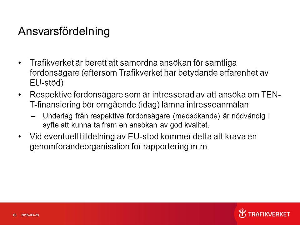 152015-03-29 Ansvarsfördelning Trafikverket är berett att samordna ansökan för samtliga fordonsägare (eftersom Trafikverket har betydande erfarenhet a