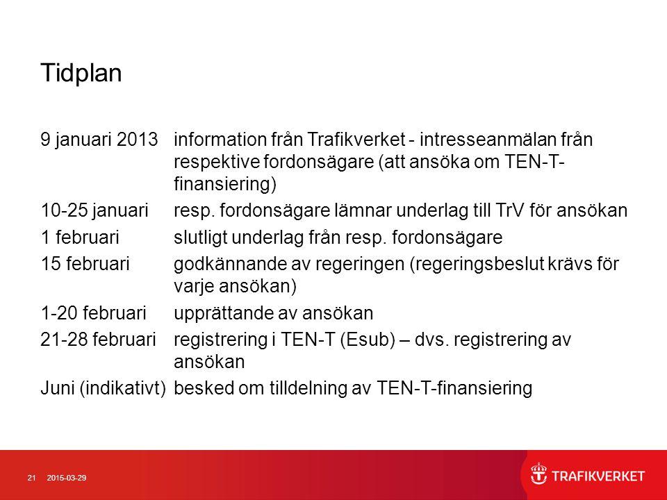 212015-03-29 Tidplan 9 januari 2013information från Trafikverket - intresseanmälan från respektive fordonsägare (att ansöka om TEN-T- finansiering) 10