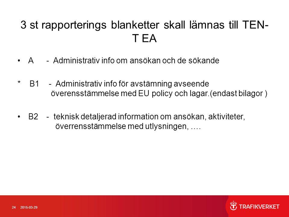 242015-03-29 3 st rapporterings blanketter skall lämnas till TEN- T EA A- Administrativ info om ansökan och de sökande * B1- Administrativ info för av