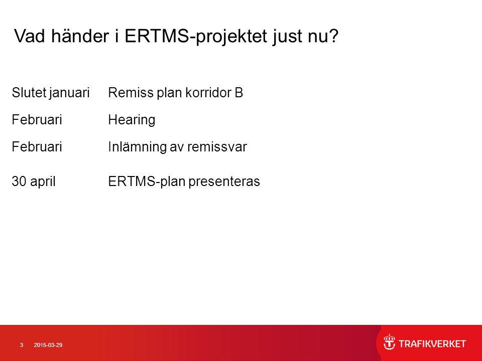 32015-03-29 Slutet januariRemiss plan korridor B FebruariHearing FebruariInlämning av remissvar 30 aprilERTMS-plan presenteras Vad händer i ERTMS-proj