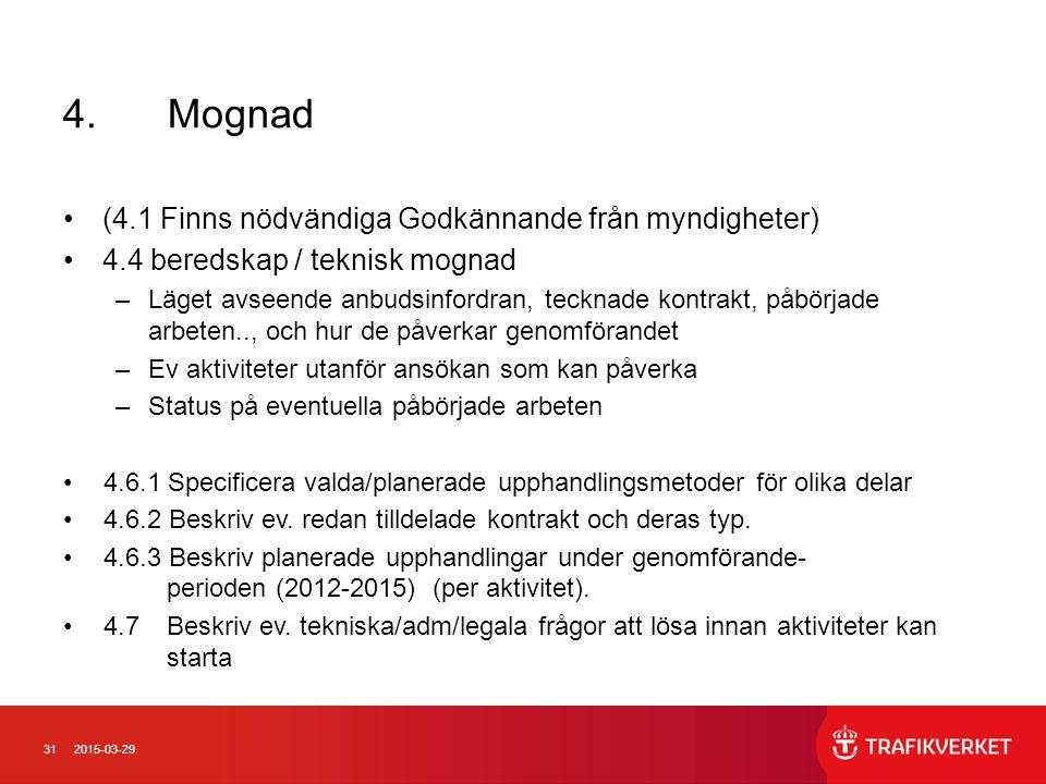 312015-03-29 4.Mognad (4.1 Finns nödvändiga Godkännande från myndigheter) 4.4 beredskap / teknisk mognad –Läget avseende anbudsinfordran, tecknade kon